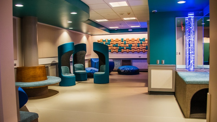Every room in the sensory suite, like this calming foyer, is soundproof.