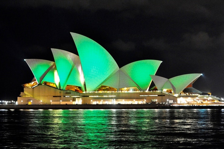 Sydney's famous opera house gets festive for St. Paddy's.