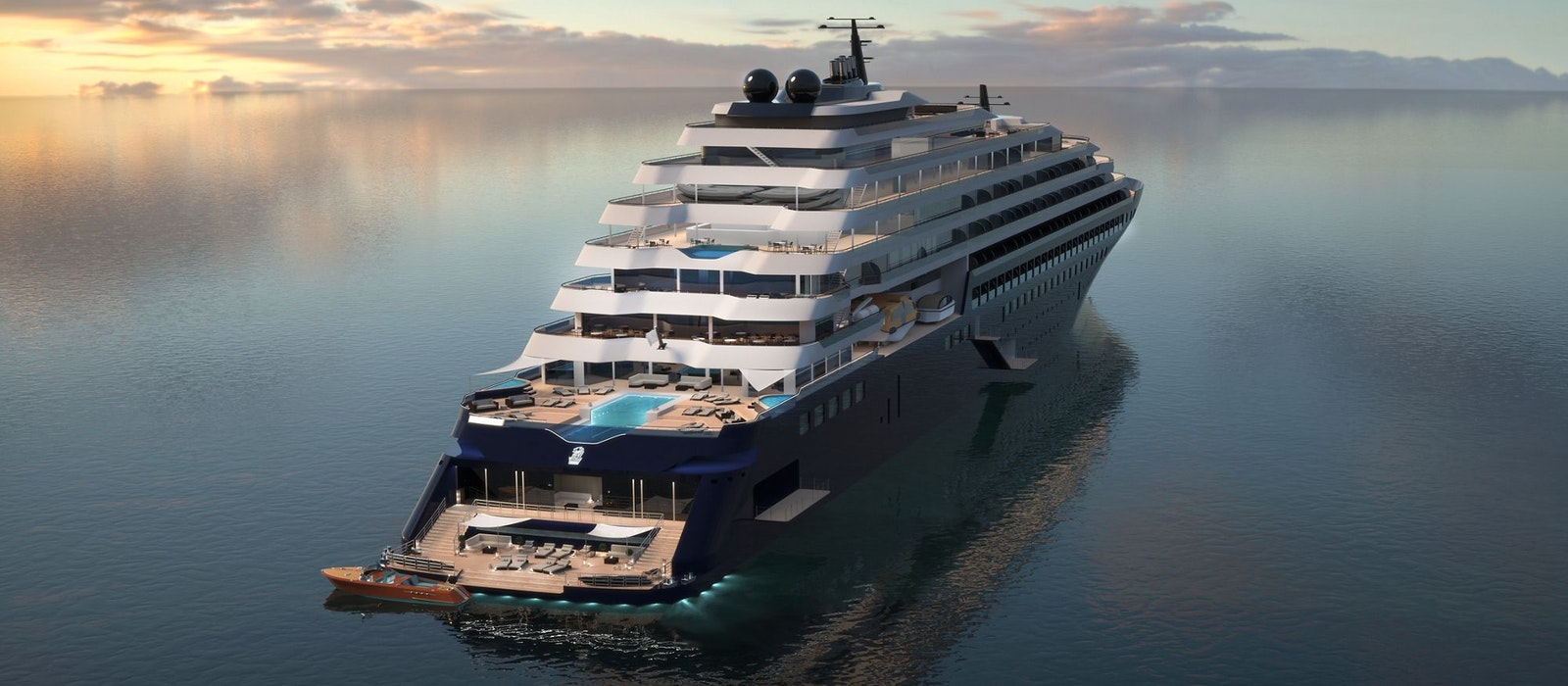 A rendering of a Ritz-Carlton Yacht Collection ship. When it launches in late 2019, the cruise line willoffer three 298-passenger luxury vessels.