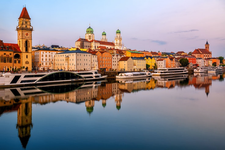The charming town of Passau in Germany is a popular stop on Danube river cruises.