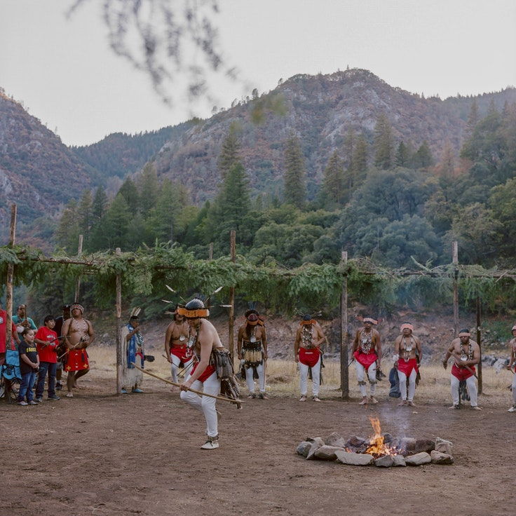 After several Winnemem Wintu people had dreams about it, the tribe revived a ceremonial dance that lay dormant for 100 years. This dance led to many people hearing the cries of the Winnemem about their salmon.  They believe with each step they take during this dance, a prayer is put down.  Here, the tribe's men dance at a closing ceremony at the conclusion of the Run4Salmon 2018 event.