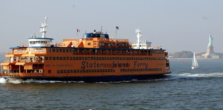 New York City's Staten Island Ferry on a calm, octopus-less day.