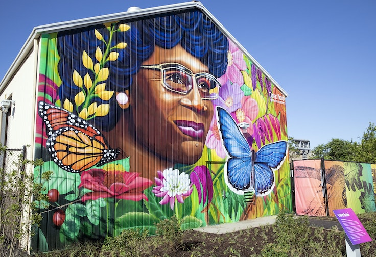 This mural depicts Shirley Chisholm, whom the park is named after.