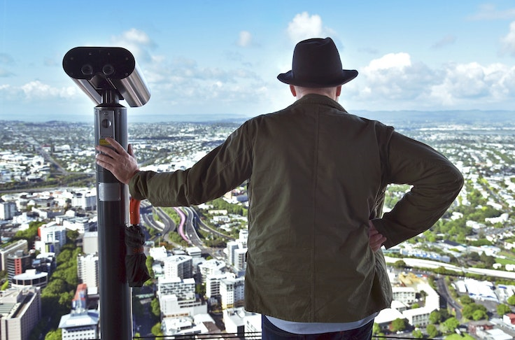 Alton Brown looks out over Auckland, New Zealand.