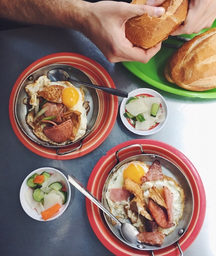 Op la—the one of the best breakfasts you can find in Vietnam.
