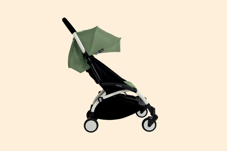 The Babyzen Yoyo+ Stroller folds up small enough to fit into the overhead bins on airplanes.
