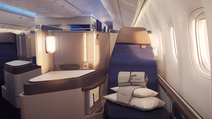 A rendering of United's new Polaris business class service.