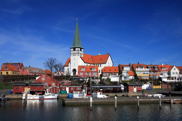 St. Nicolas Church in Rønne, Bornholm, is right next to the harbor.