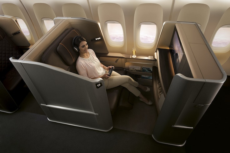 A first-class cabin on Singapore Airlines