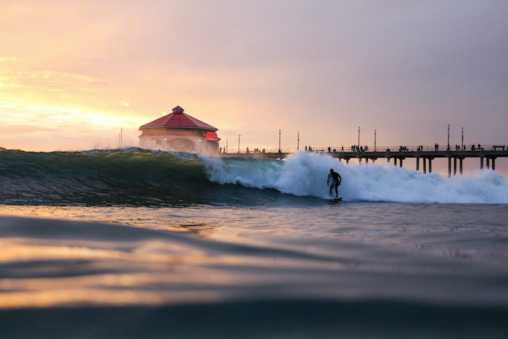 Huntington Beach is defined by surfing and by its iconic pier.