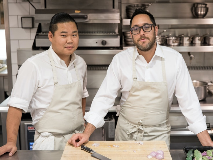 Christopher Kostow (right) is the Executive Chef at The Restaurant at Meadowood and the co-owner of the Charter Oak in St. Helena.