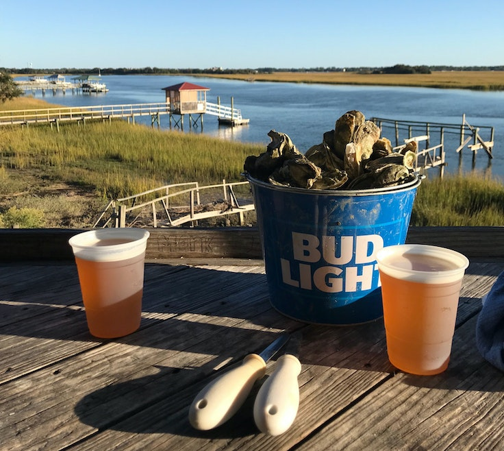 Get a briny taste of Charleston with a bucket of steamed oysters at Bowens Island Restaurant.