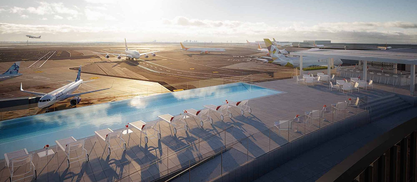 The pool has views of JFK'sRunway 4 Left/22 Right (for all the plane-spotters out there).