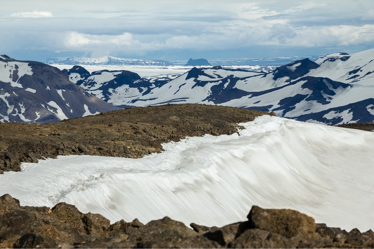 View from Ok volcano to the snowfields of Thorisdalur.