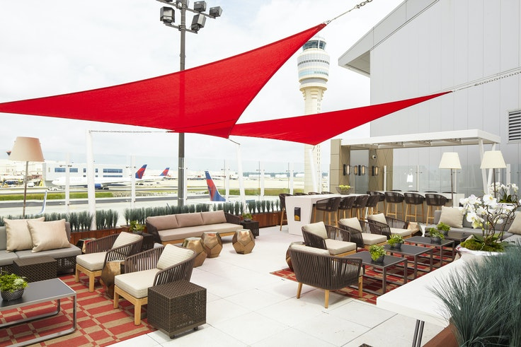 The Delta SkyClub in Atlanta has one of the rarest amenities when it comes to airport lounges—fresh air.
