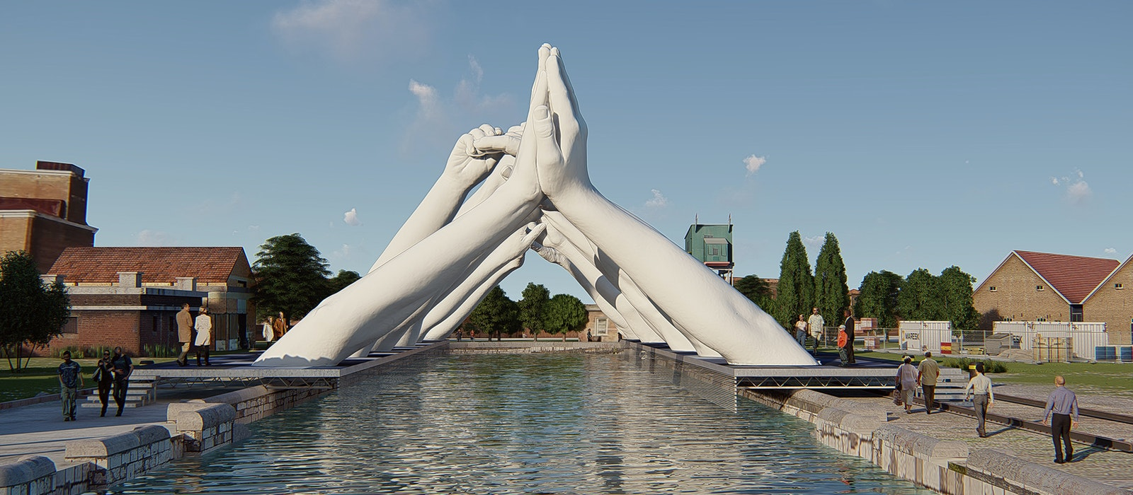 "Lorenzo Quinn's ""Building Bridges"" sculpture will be on display adjacent to the 58th Venice Biennale."