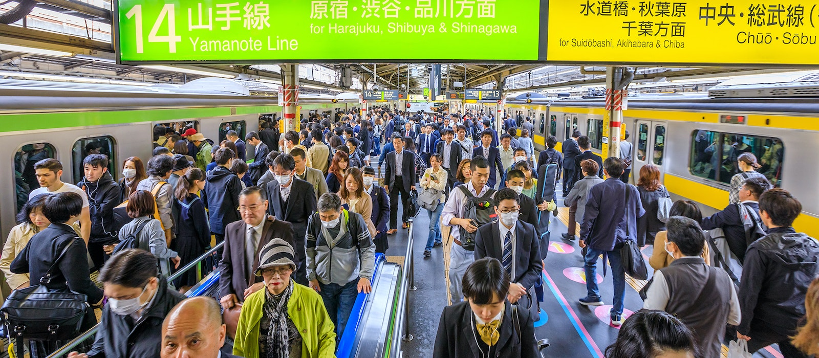 The platform at Shinkjuku Station where Tokyo's Yamanote Line meets the Chuo Line, the seventh most crowded transit line in the world.