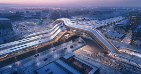 A New, High-Speed European Train Station by Zaha Hadid Architects Will Double as a Pedestrian Bridge