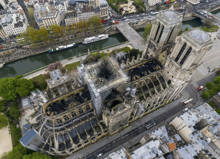 A fire destroyed the spire and roof of Notre-Dame Cathedral on Monday.