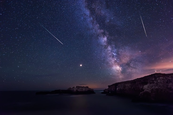 A meteor shower over the Black Sea in Bulgaria