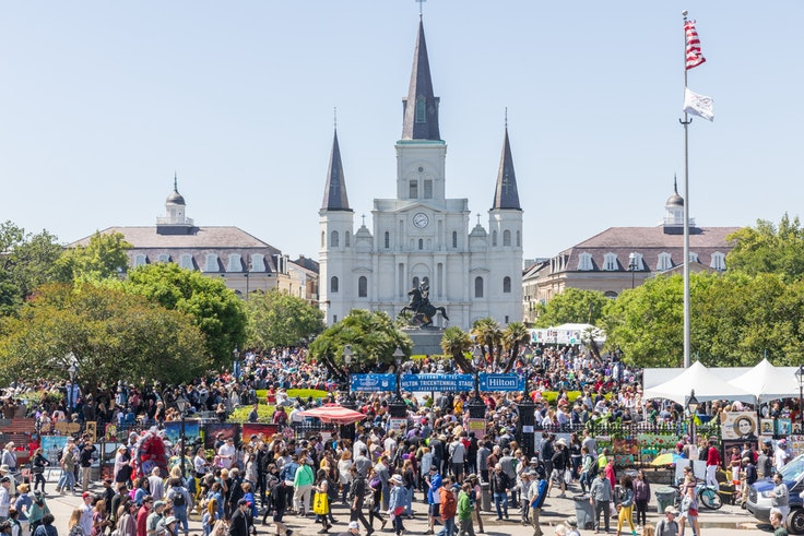 The French Quarter Festival, in front of the St. Louis Cathedral in Jackson Square, New Orleans