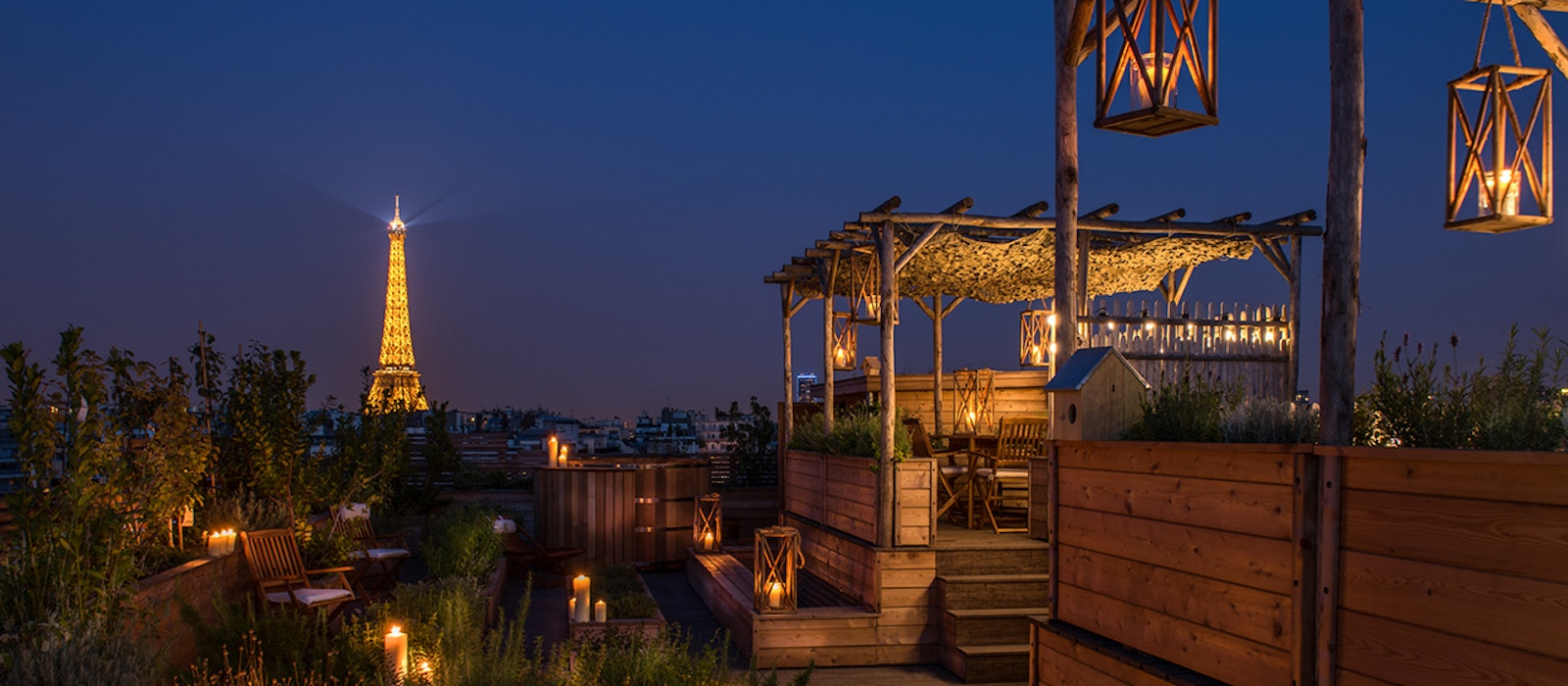 The view from the rooftop kitchen garden at the Brach Paris. (Don't worry, there's a terrace bar up there, too.)