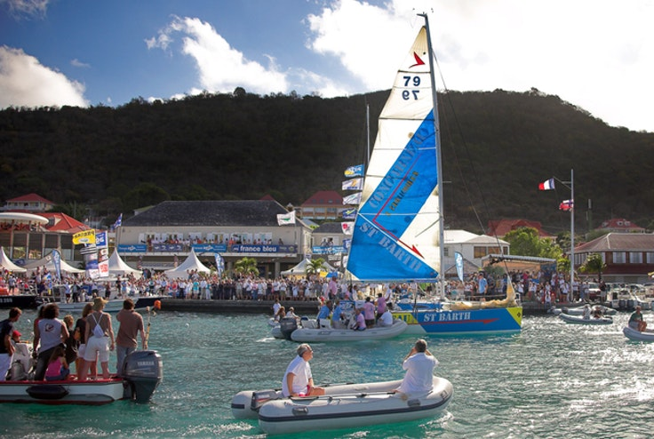 Crowds gathering for the annual Transat AG2R racing event in Gustavia, St. Barths