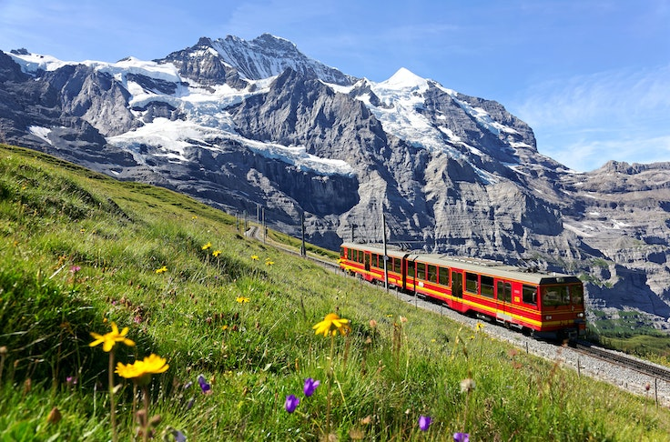 Switzerland's railways offer stunning surrounding views. The Jungfrau Railway, which connects the Bernese Highlands to the Valais, is one of the country's most-touristed routes.