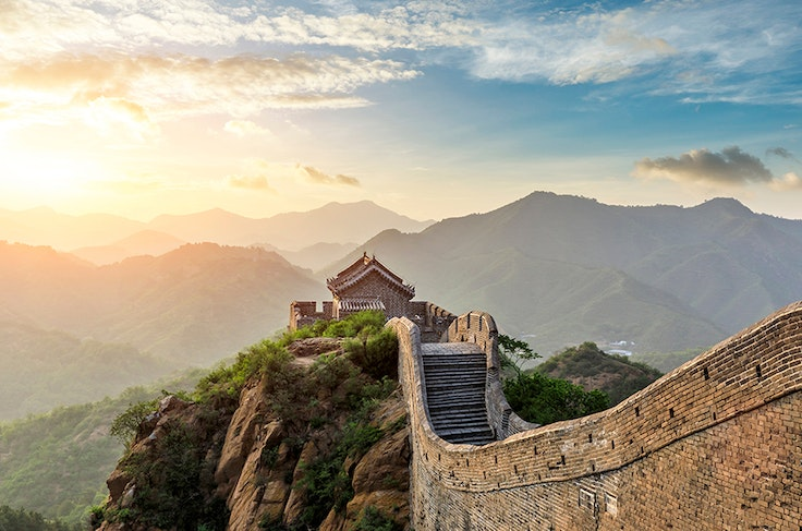 The Mutianyu section of the Great Wall of China is approximately 40 miles north of Beijing.