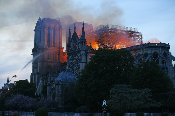The spire of the Notre-Dame Cathedral in Paris collapsed in a fire on Monday.