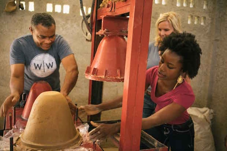 Guests on the new Fathom cruises spend  time volunteering with community projects, like one that makes clay water filters