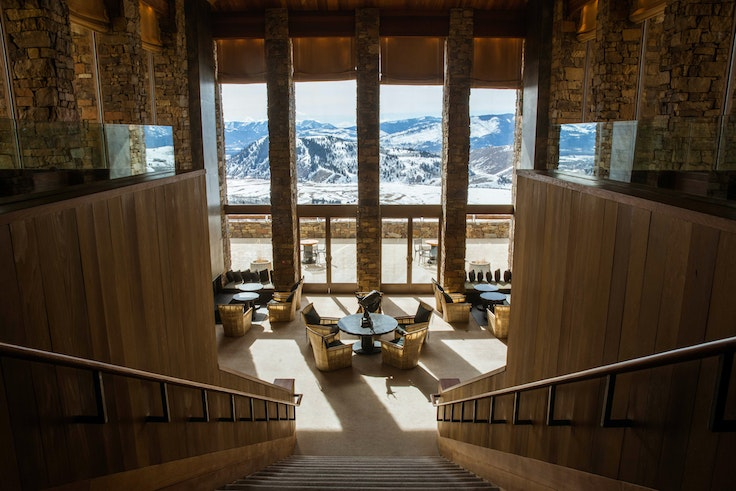A jaw-dropping view of the Tetons greets guestsat the Amangani resort in Jackson, Wyoming.