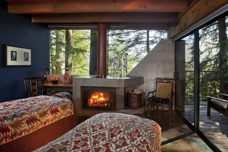 All guest rooms at Big Sur's Post Ranch Inn feature cozy wood fireplaces.