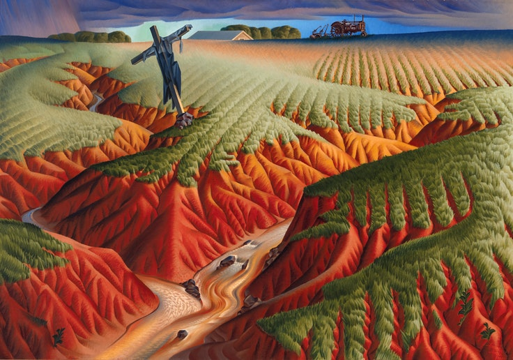"Alexandre Hogue's ""Crucified Land"" (1939) is one of the paintings on view at ""Nature's Nation: American Art and Environment"" at the Peabody Essex Museum in Salem, Massachusetts."