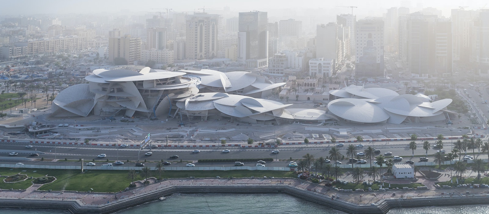 An aerial view of the National Museum of Qatar designed by Ateliers Jean Nouvel
