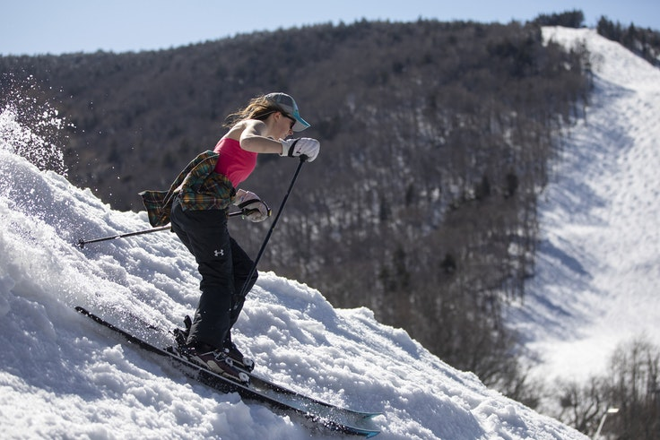 In Killington, Vermont, skiers shed their outer layers when the sun hits the slopes.