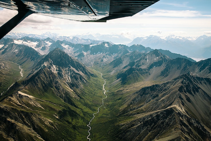 Flying by bush plane is the best way to see Alaska's Wrangell-St. Elias National Park.
