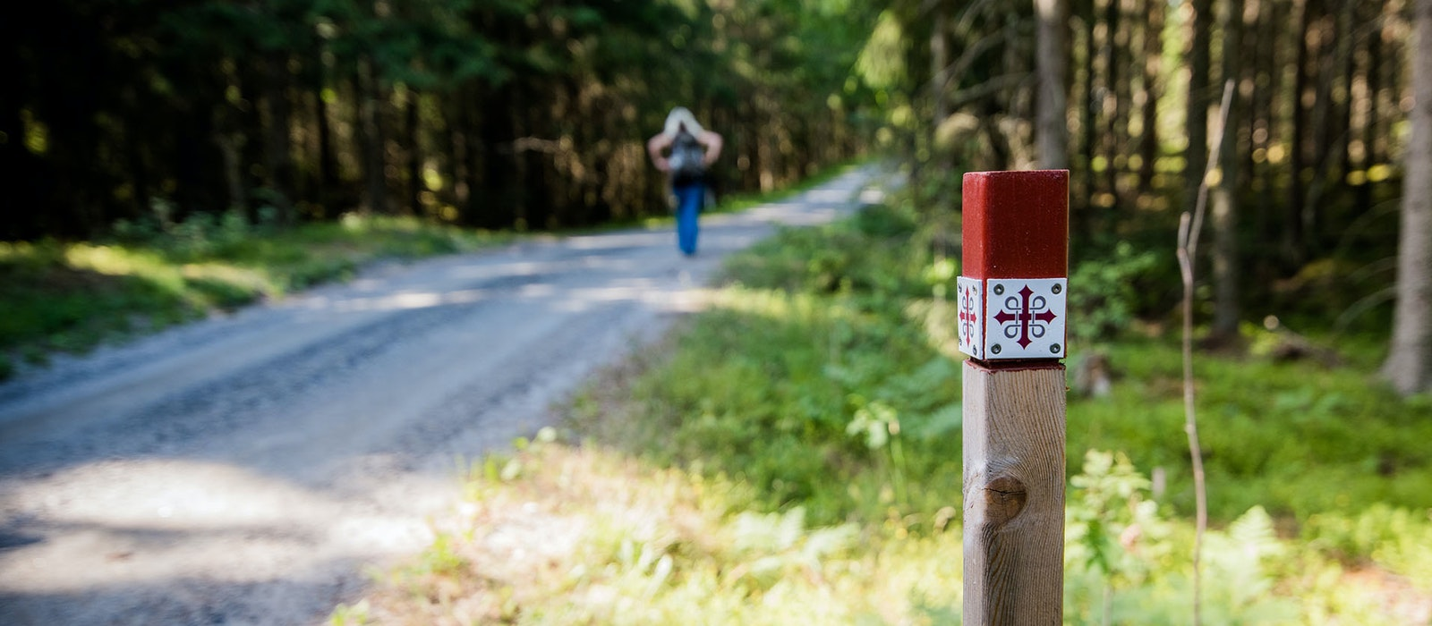 The symbol on the red-and-white markers along the St. Olav Ways hints at the ancient trail's history and pays homage to its namesake.