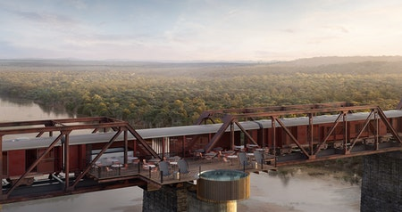 Kruger National Park's Newest Luxury Hotel Is in a Train on a Bridge