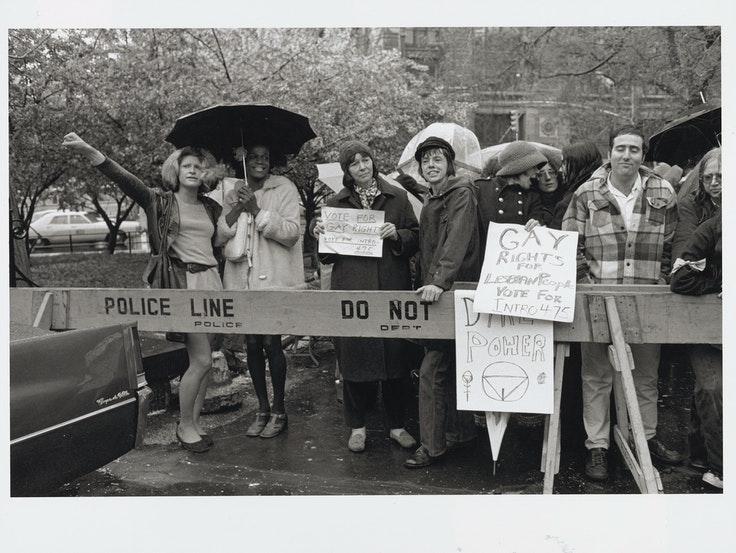 Activists Sylvia Rivera, Marsha P. Johnson, Barbara Deming, and Kady Vandeurs at a City Hall rally for gay rights in 1973. (Image by Diana Davies, one of the leading photojournalists of the LGBTQ liberation movement.)