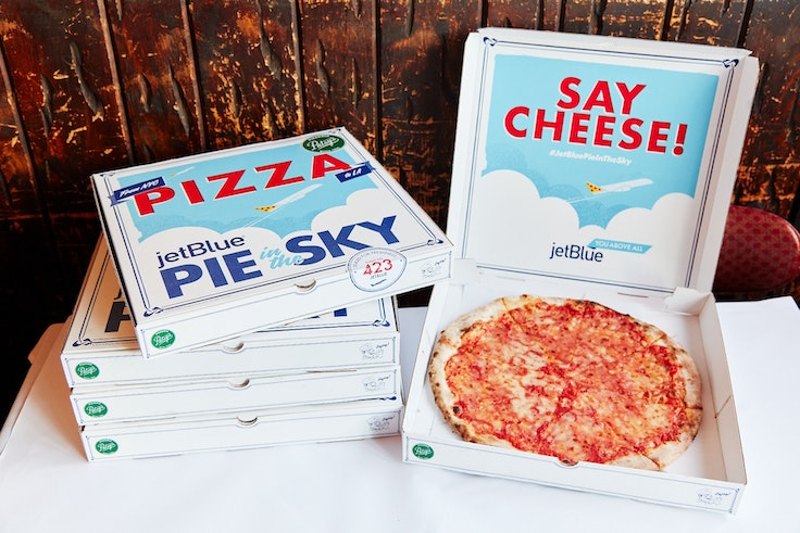 JetBlue has partnered with New York City's Patsy's Pizzeria to bring thin crust to the West Coast.