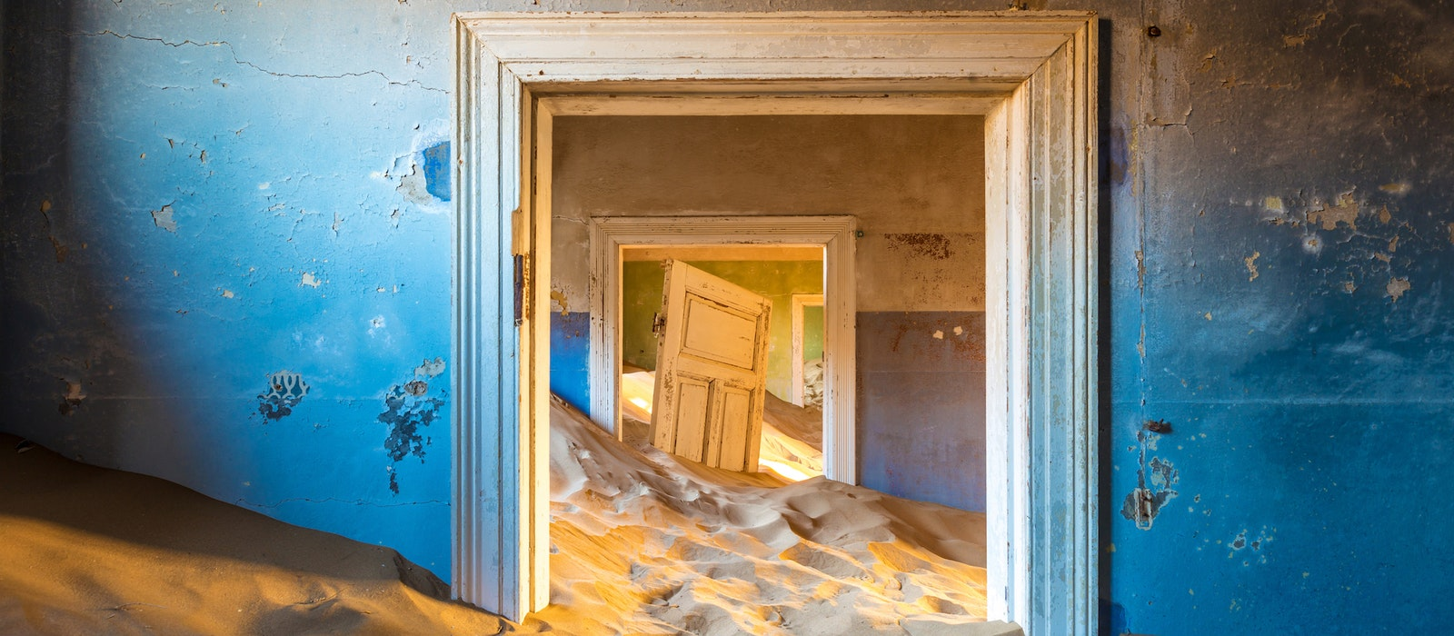 The town of Kolmanskop in Namibia was founded in the early 1900s after diamonds were found in the Namib Desert, but it was eventually abandoned and all but swallowed up by sand.
