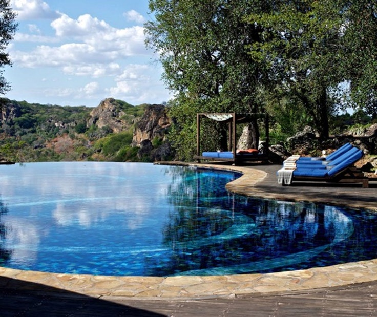 The swimming pool at Zimbabwe's Singita Pamushana Lodge.