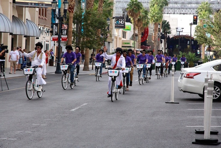 Some of Las Vegas's residents take the new public bikes for a spin.