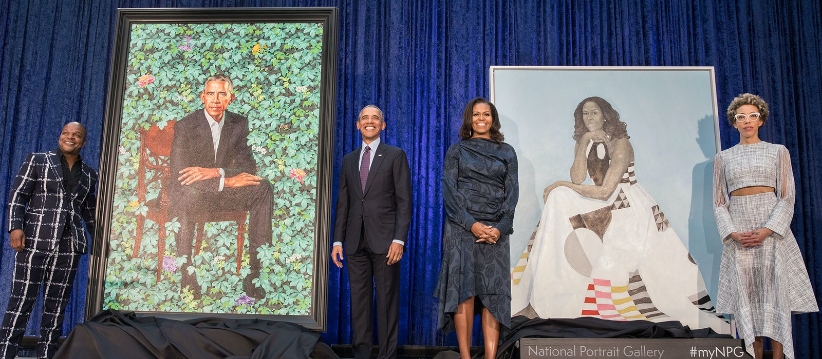 Unveiling the portraits of former President Barack Obama and former First Lady Michelle Obama at the National Portrait Gallery in Washington, D.C., February 12.