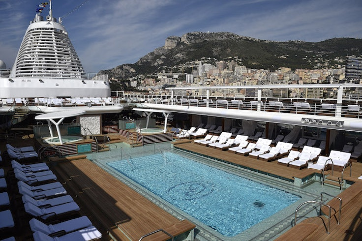 The pool deck on the Seven Seas Explorer.