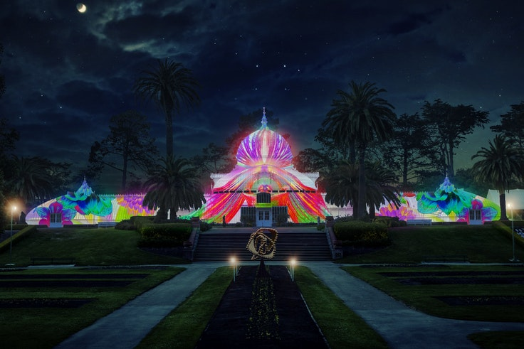 San Francisco's Conservatory of Flowers will be psychedelic at night.