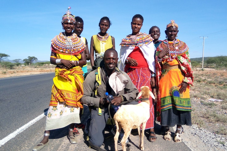 Mario Rigby walked from Capetown to Cairo over the course of more than two years. He's shown here with Samburu tribeswomen he met by the road in Kenya.