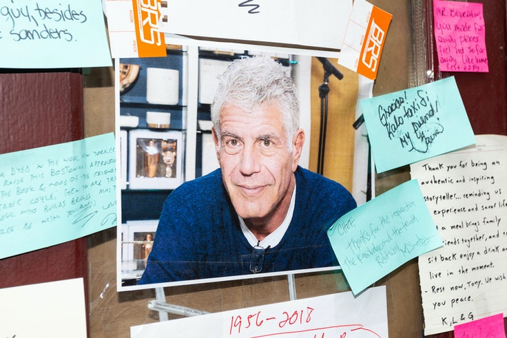 Following Anthony Bourdain's passing in June 2018, flowers, photos, and notes were placed in front of Brasserie Les Halles, the New York City restaurant where he once worked as executive chef.