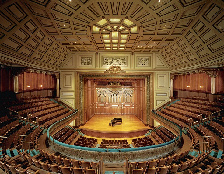 Jordan Hall, located in Boston, was granted joint National Historical Landmark status with the New England Conservatory in 1994.